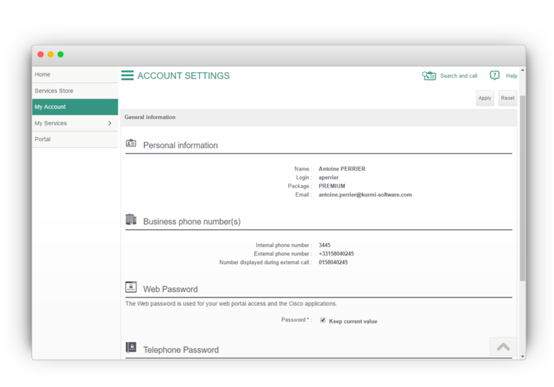 Unified communication tools - Account Settings