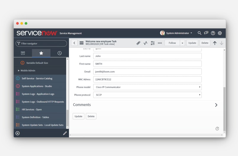 Automate UC Operations with ServiceNow Integration
